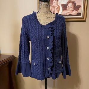 J JILL Ruffled Cotton Sweater NWT!